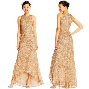 Adrianna Papell Gold Sequined Gown Dress
